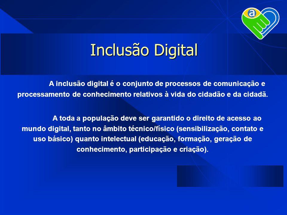 Inclusão DigitalA inclusão digital é o conjunto de processos de comunicação e processamento de conhecimento relativos à vida do cidadão e da cidadã.