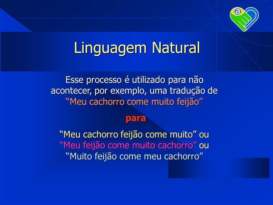 Linguagem Natural Esse processo é utilizado para não acontecer, por exemplo, uma tradução de Meu cachorro come muito feijão