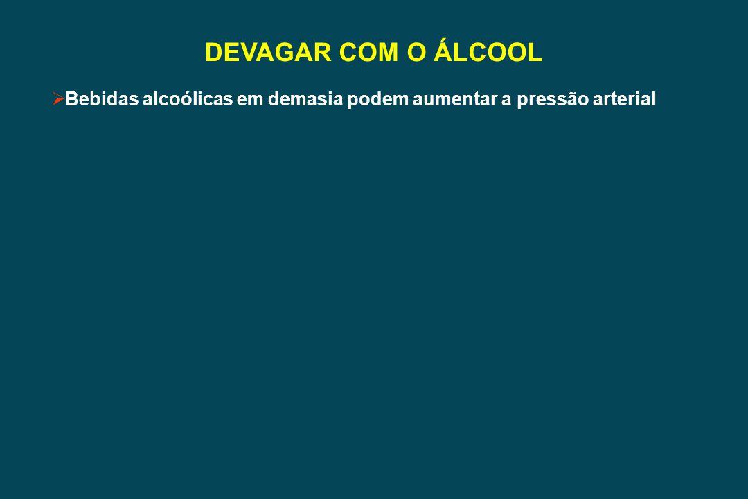 DEVAGAR COM O ÁLCOOL Bebidas alcoólicas em demasia podem aumentar a pressão arterial
