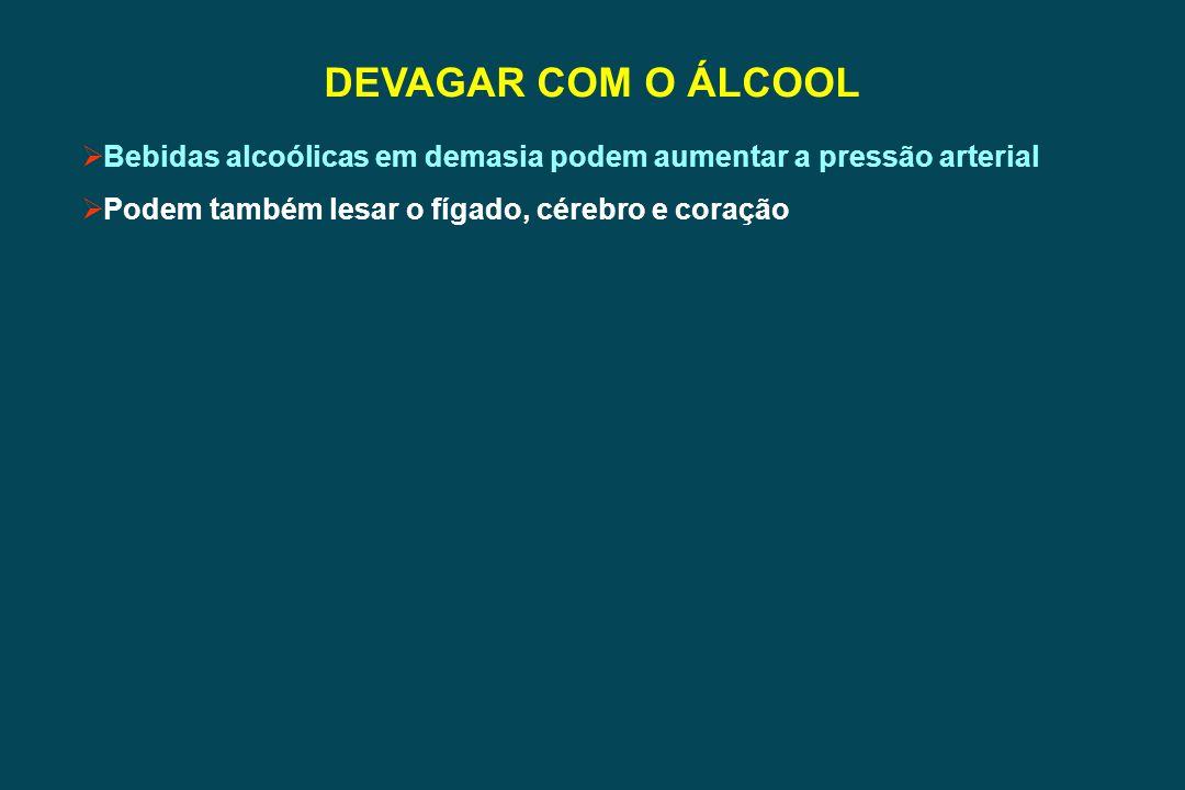 DEVAGAR COM O ÁLCOOL Bebidas alcoólicas em demasia podem aumentar a pressão arterial.
