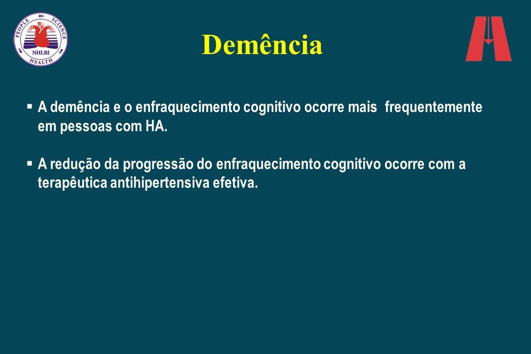 Demência A demência e o enfraquecimento cognitivo ocorre mais frequentemente em pessoas com HA.