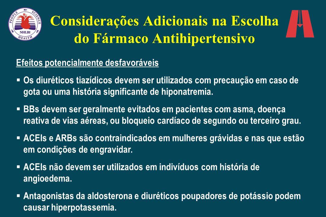 Considerações Adicionais na Escolha do Fármaco Antihipertensivo