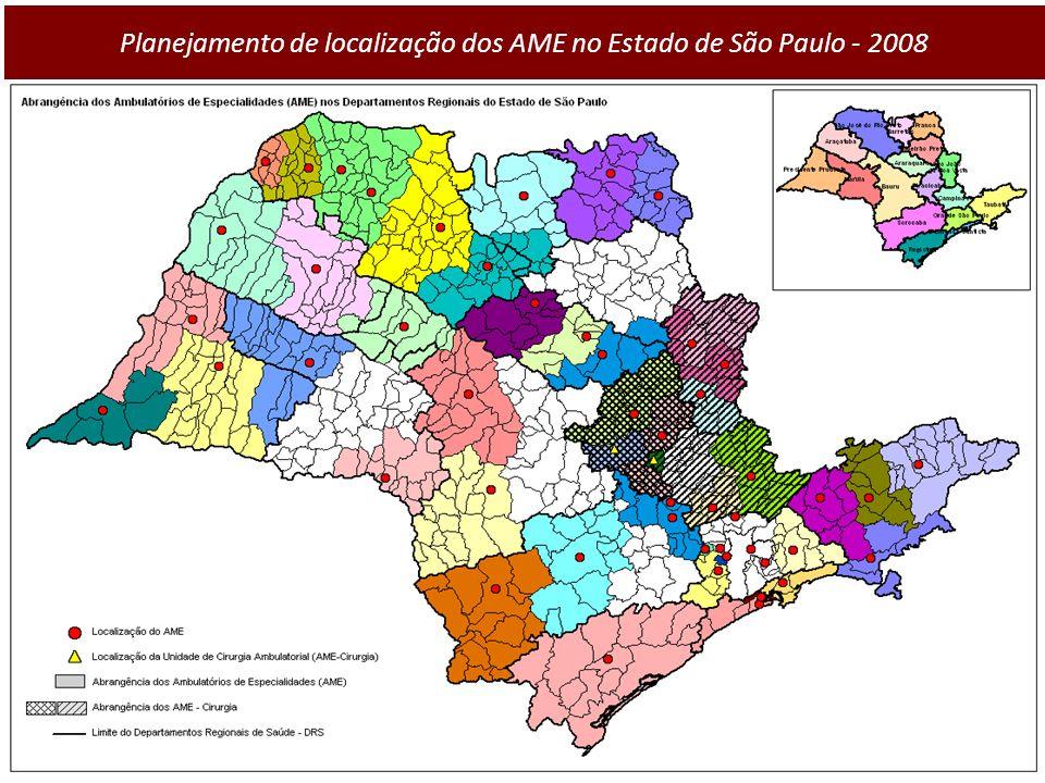 Planejamento de localização dos AME no Estado de São Paulo - 2008