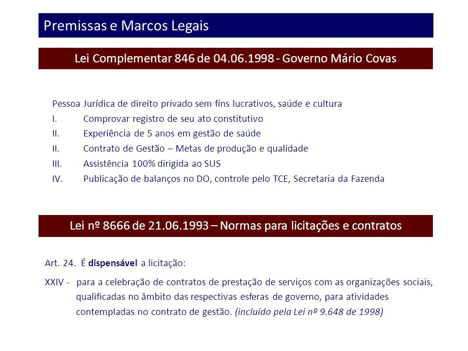 Premissas e Marcos Legais