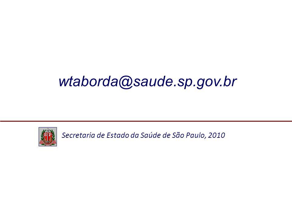 wtaborda@saude.sp.gov.br Secretaria de Estado da Saúde de São Paulo, 2010