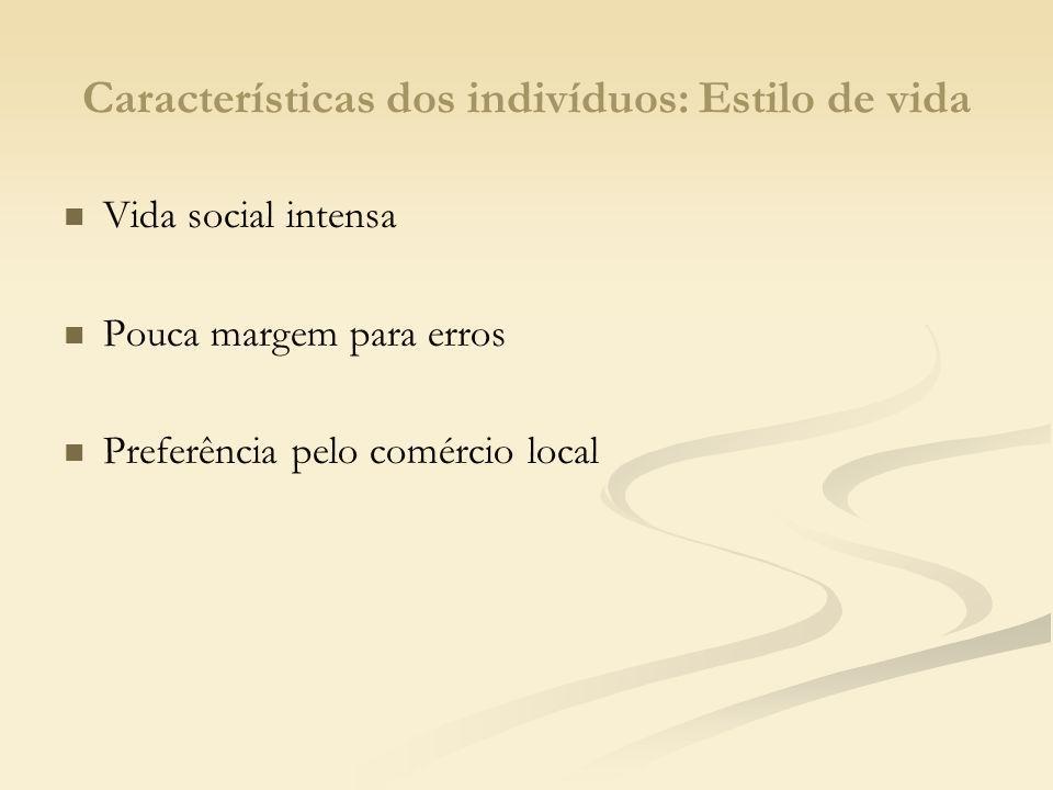 Características dos indivíduos: Estilo de vida