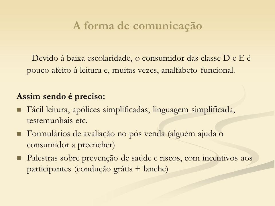 A forma de comunicação Devido à baixa escolaridade, o consumidor das classe D e E é pouco afeito à leitura e, muitas vezes, analfabeto funcional.