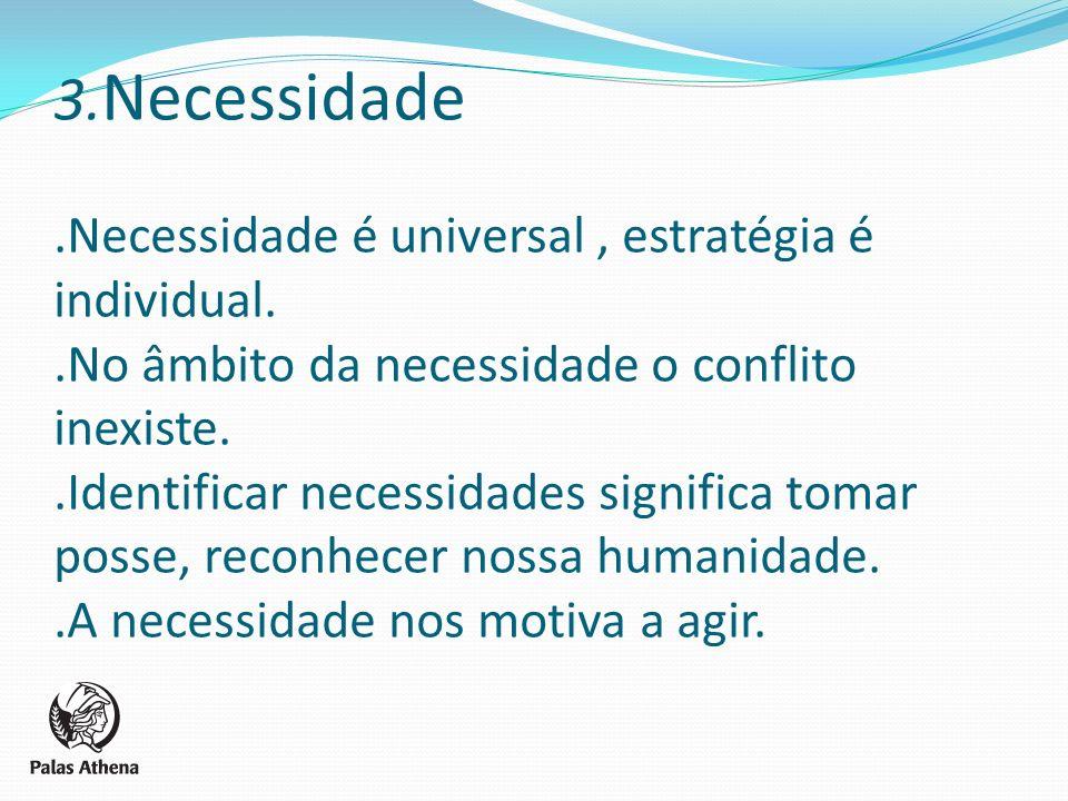 3. Necessidade. Necessidade é universal , estratégia é individual