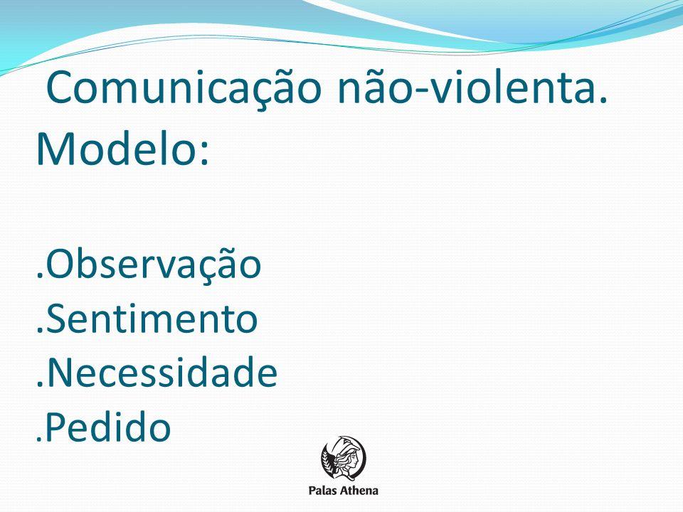 Comunicação não-violenta. Modelo:. Observação. Sentimento. Necessidade