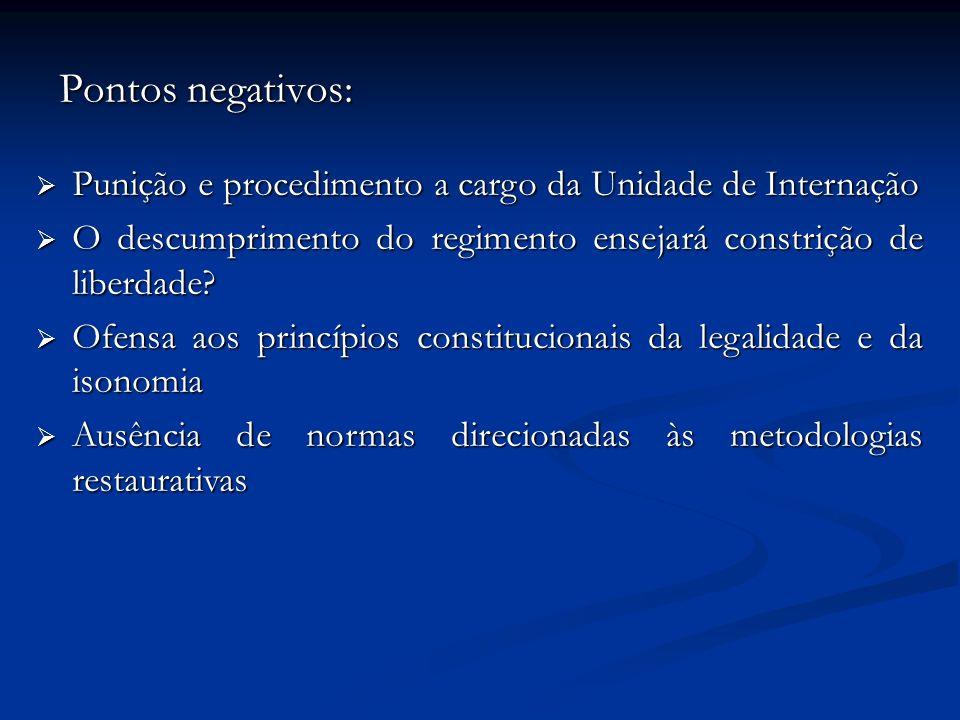 Pontos negativos: Punição e procedimento a cargo da Unidade de Internação. O descumprimento do regimento ensejará constrição de liberdade