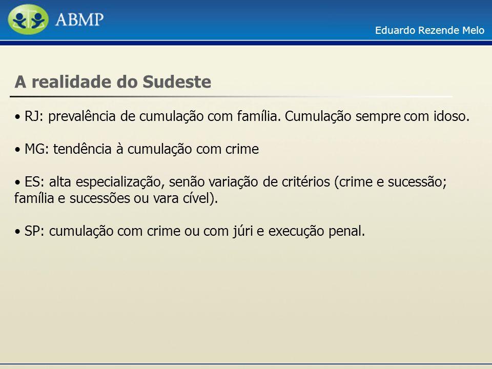 A realidade do Sudeste RJ: prevalência de cumulação com família. Cumulação sempre com idoso. MG: tendência à cumulação com crime.