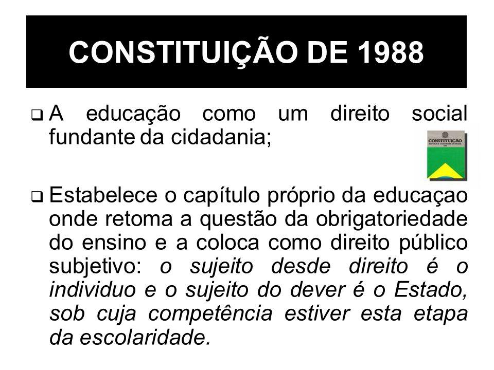 CONSTITUIÇÃO DE 1988 A educação como um direito social fundante da cidadania;