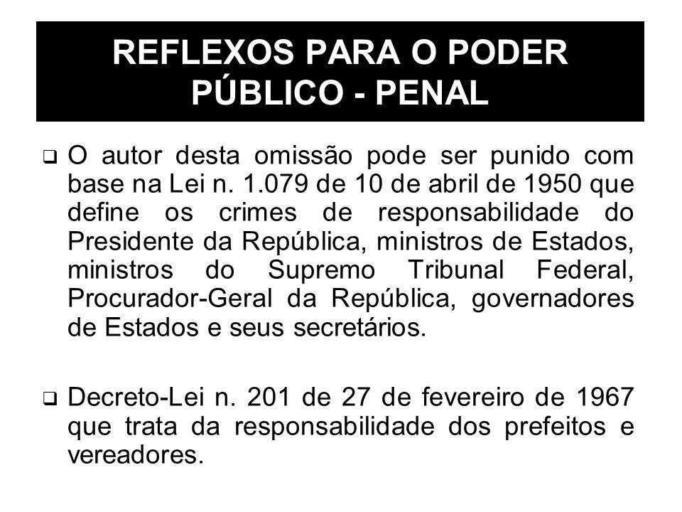 REFLEXOS PARA O PODER PÚBLICO - PENAL