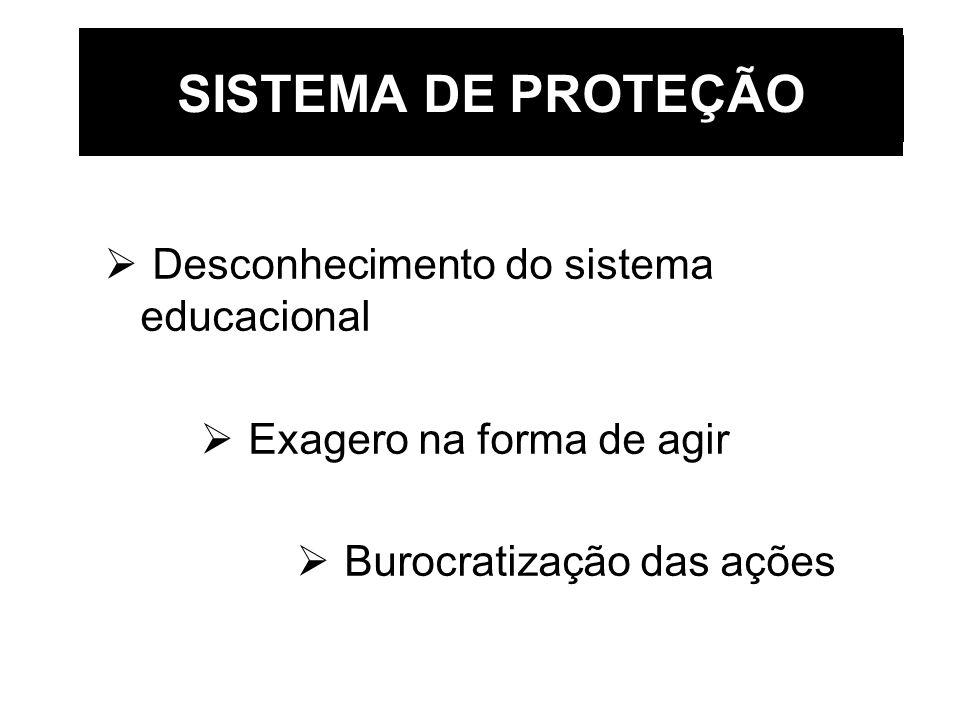 SISTEMA DE PROTEÇÃO Desconhecimento do sistema educacional
