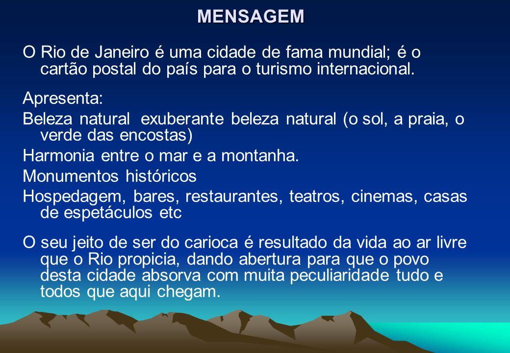 MENSAGEM O Rio de Janeiro é uma cidade de fama mundial; é o cartão postal do país para o turismo internacional.