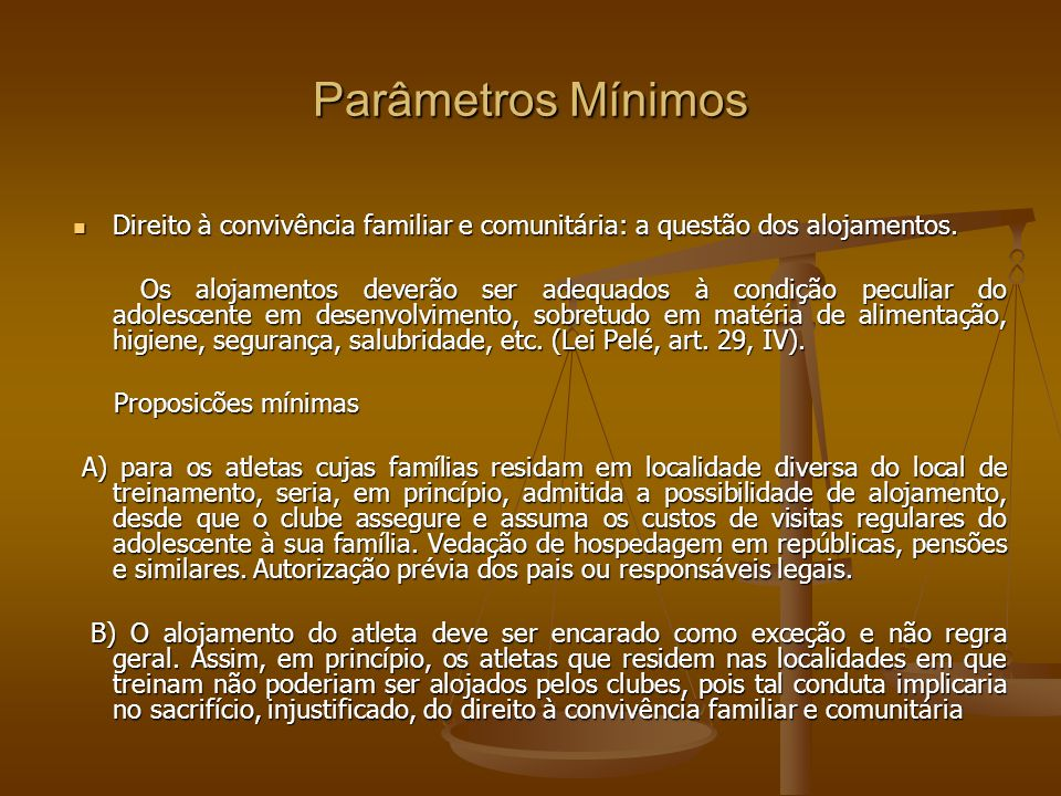 Parâmetros Mínimos Direito à convivência familiar e comunitária: a questão dos alojamentos.