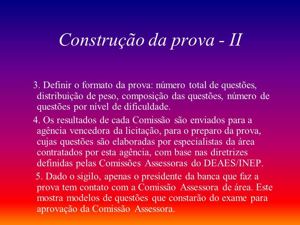 Construção da prova - II