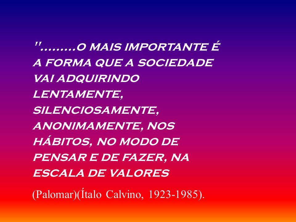 .........o mais importante é a forma que a sociedade vai adquirindo lentamente, silenciosamente, anonimamente, nos hábitos, no modo de pensar e de fazer, na escala de valores