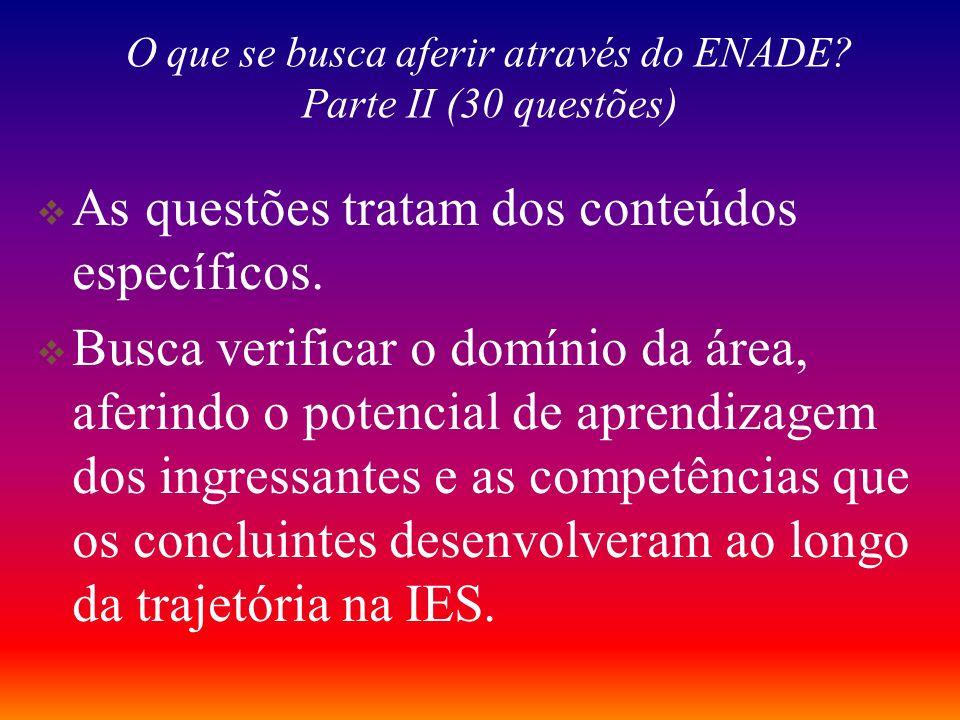 O que se busca aferir através do ENADE Parte II (30 questões)