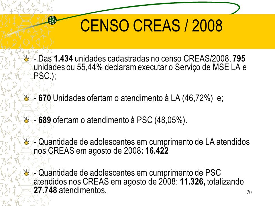 CENSO CREAS / 2008 - Das 1.434 unidades cadastradas no censo CREAS/2008, 795 unidades ou 55,44% declaram executar o Serviço de MSE LA e PSC.);