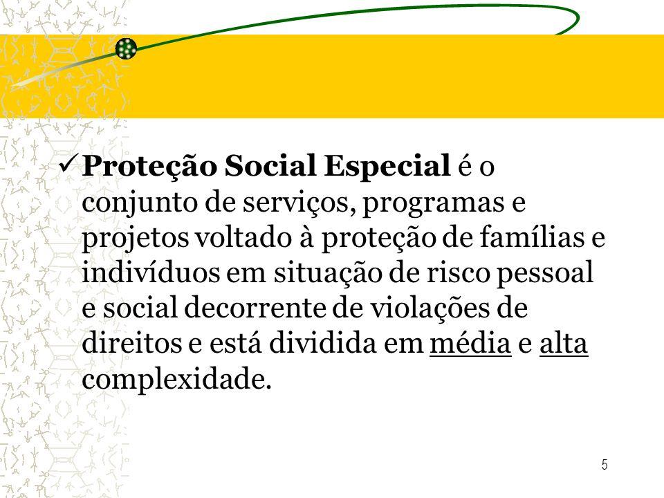 Proteção Social Especial é o conjunto de serviços, programas e projetos voltado à proteção de famílias e indivíduos em situação de risco pessoal e social decorrente de violações de direitos e está dividida em média e alta complexidade.