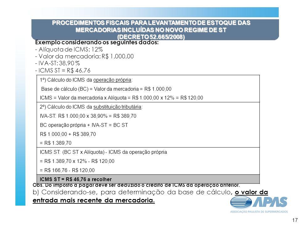 PROCEDIMENTOS FISCAIS PARA LEVANTAMENTO DE ESTOQUE DAS MERCADORIAS INCLUÍDAS NO NOVO REGIME DE ST