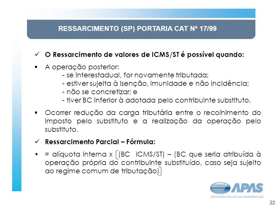 RESSARCIMENTO (SP) PORTARIA CAT Nº 17/99