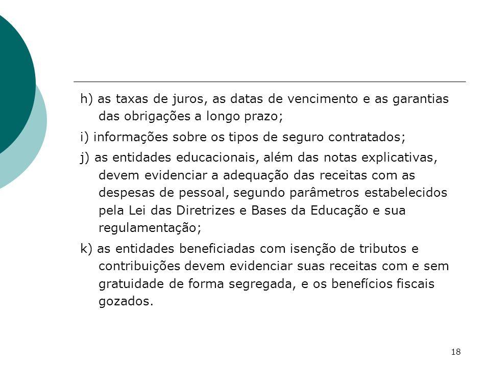 h) as taxas de juros, as datas de vencimento e as garantias das obrigações a longo prazo;
