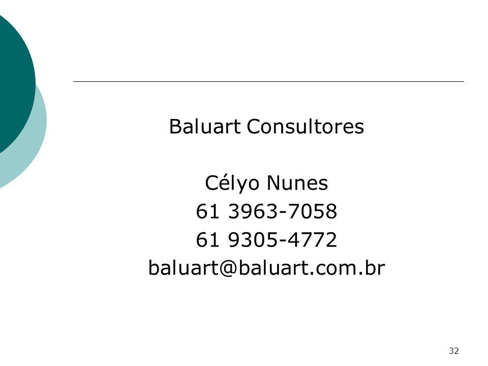 Baluart Consultores Célyo Nunes 61 3963-7058 61 9305-4772 baluart@baluart.com.br