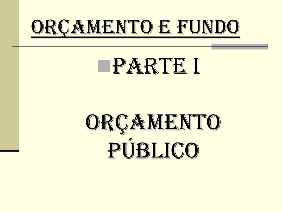 PARTE I ORÇAMENTO PÚBLICO