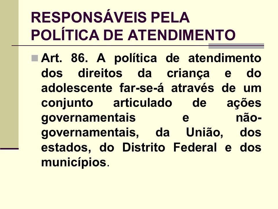 RESPONSÁVEIS PELA POLÍTICA DE ATENDIMENTO