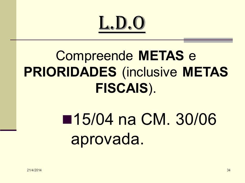 Compreende METAS e PRIORIDADES (inclusive METAS FISCAIS).