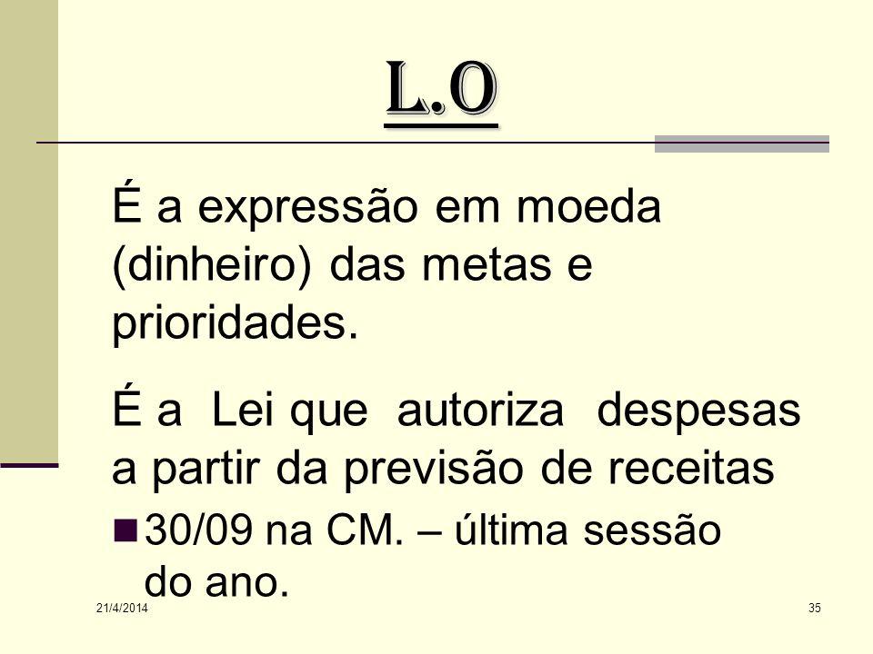 L.O É a expressão em moeda (dinheiro) das metas e prioridades.
