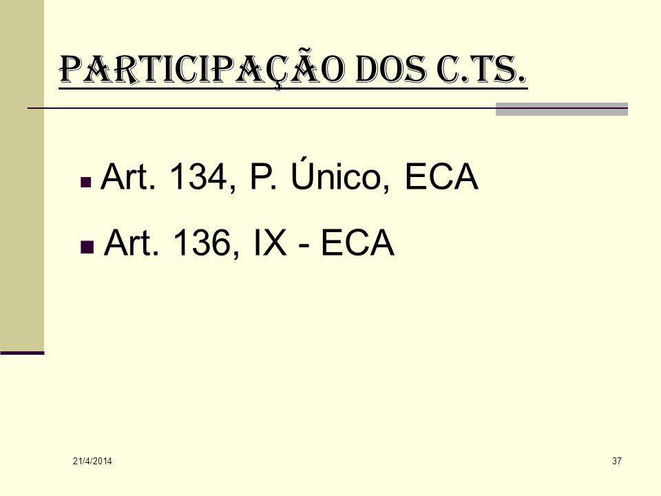 PARTICIPAÇÃO DOS C.Ts. Art. 136, IX - ECA Art. 134, P. Único, ECA