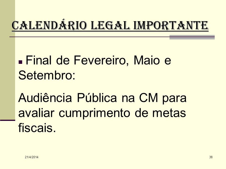 CALENDÁRIO LEGAL IMPORTANTE