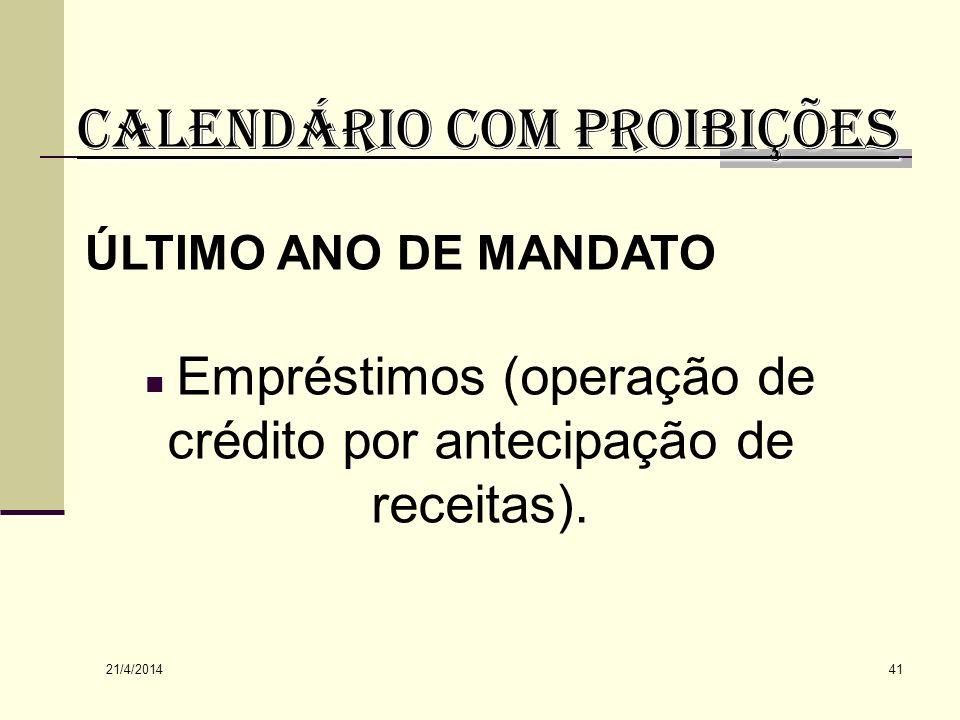 CALENDÁRIO COM PROIBIÇÕES
