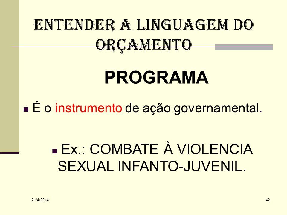 ENTENDER A LINGUAGEM DO ORÇAMENTO