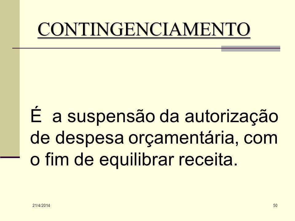 CONTINGENCIAMENTO É a suspensão da autorização de despesa orçamentária, com o fim de equilibrar receita.