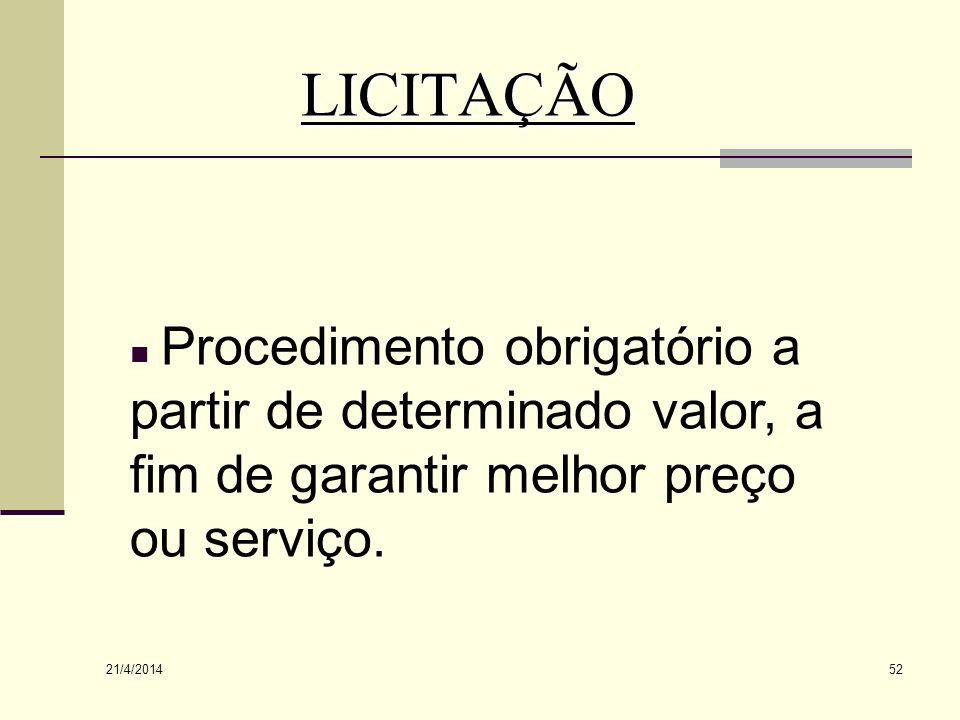 LICITAÇÃO Procedimento obrigatório a partir de determinado valor, a fim de garantir melhor preço ou serviço.