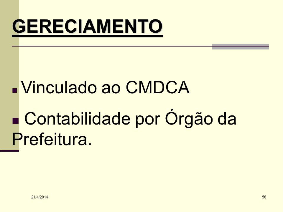 GERECIAMENTO Contabilidade por Órgão da Prefeitura. Vinculado ao CMDCA
