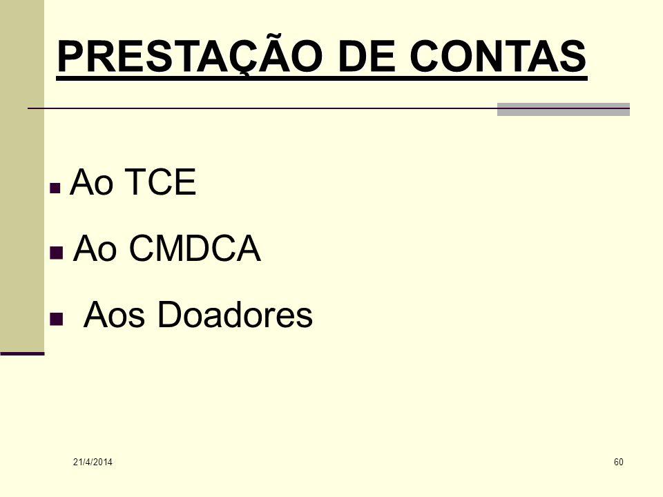 PRESTAÇÃO DE CONTAS Ao TCE Ao CMDCA Aos Doadores 26/03/2017