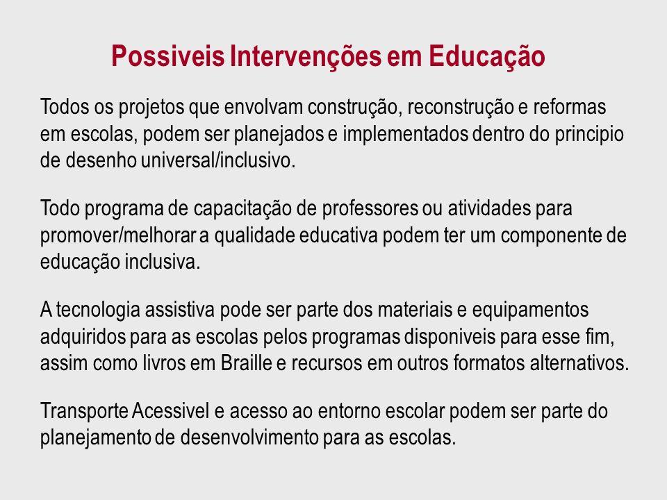 Possiveis Intervenções em Educação