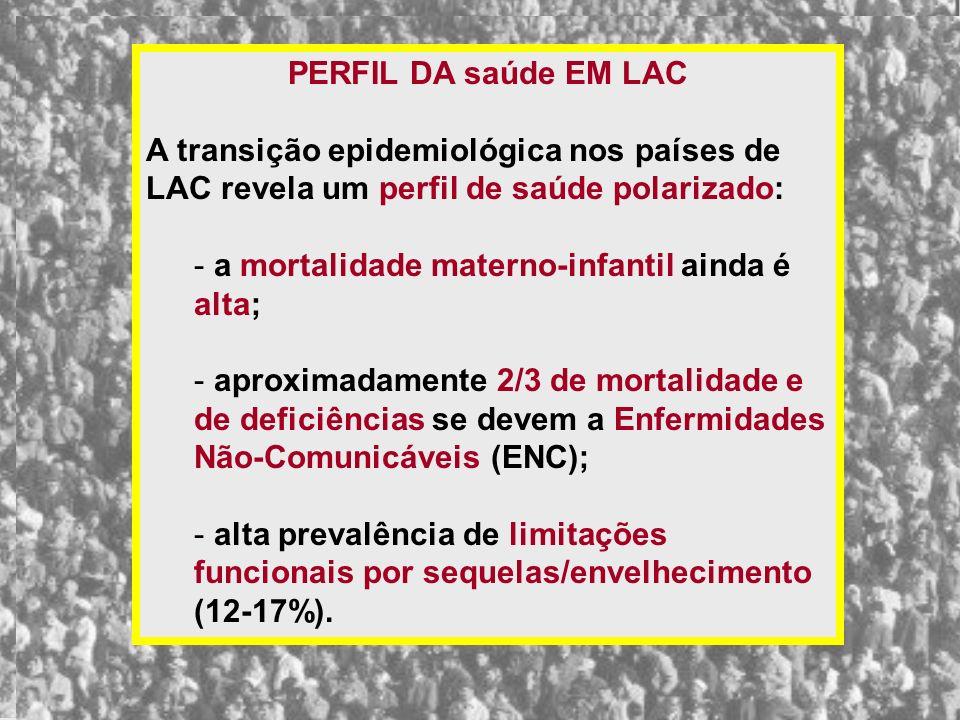 PERFIL DA saúde EM LAC A transição epidemiológica nos países de LAC revela um perfil de saúde polarizado: