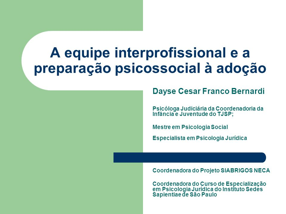 A equipe interprofissional e a preparação psicossocial à adoção