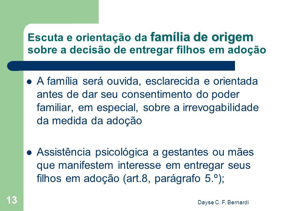 Escuta e orientação da família de origem sobre a decisão de entregar filhos em adoção