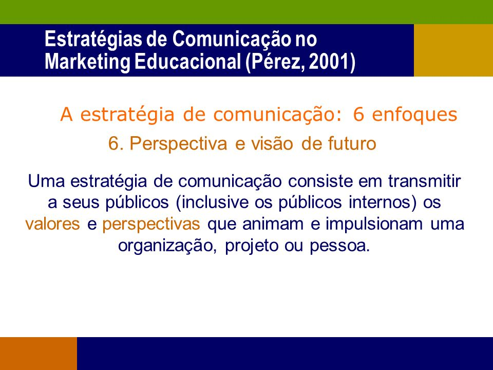 Estratégias de Comunicação no Marketing Educacional (Pérez, 2001)