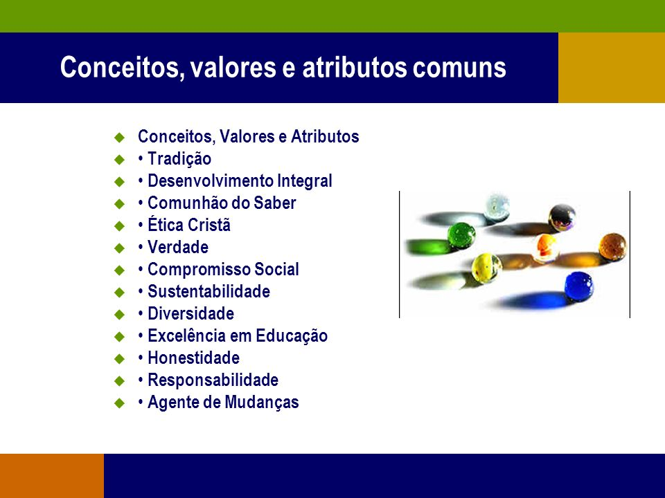 Conceitos, valores e atributos comuns