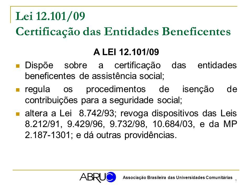 Lei 12.101/09 Certificação das Entidades Beneficentes