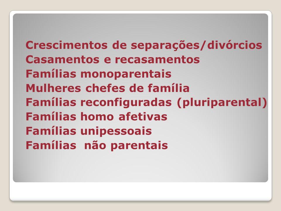 Crescimentos de separações/divórcios Casamentos e recasamentos Famílias monoparentais Mulheres chefes de família Famílias reconfiguradas (pluriparental) Famílias homo afetivas Famílias unipessoais Famílias não parentais