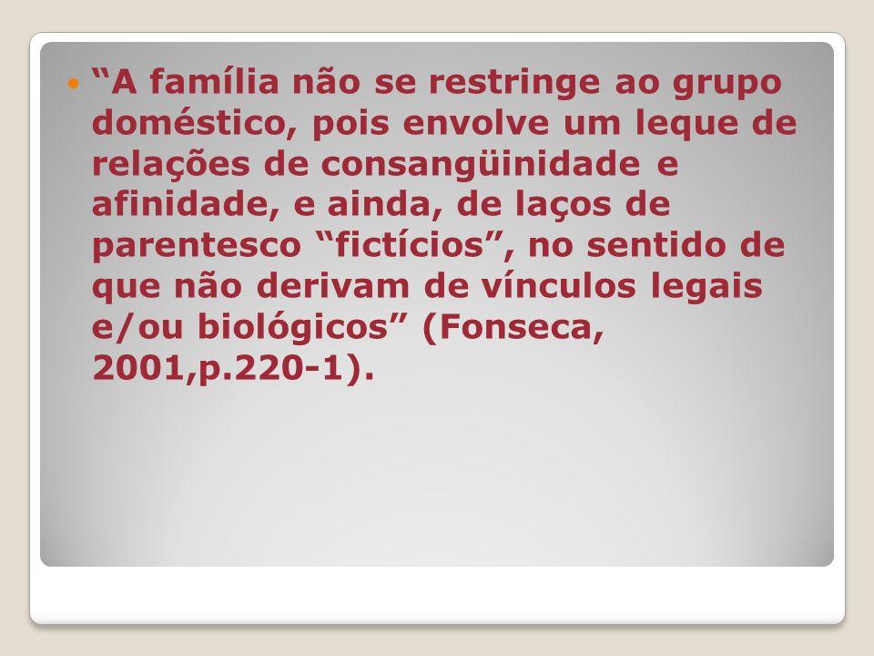 A família não se restringe ao grupo doméstico, pois envolve um leque de relações de consangüinidade e afinidade, e ainda, de laços de parentesco fictícios , no sentido de que não derivam de vínculos legais e/ou biológicos (Fonseca, 2001,p.220-1).